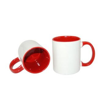 Personalised 2 Tone Mugs with Inner & Rim Red Colour